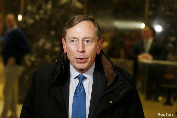 Former CIA director David Petraeus speaks to the media after a meeting with Donald Trump at Trump Tower in New York, Nov. 28, 2016.