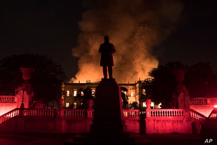 Flames engulf the 200-year-old National Museum of Brazil, in Rio de Janeiro, Sept. 2, 2018.