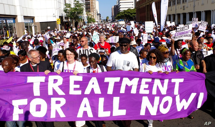 Civil rights activists march in Durban, South Africa, at the start of the 21st World Aids Conference, July 18, 2016.