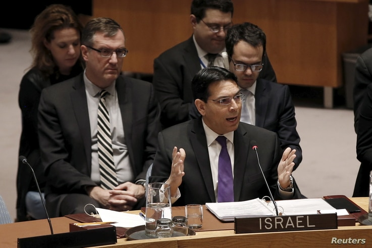 Israel's Ambassador to the United Nations Danny Danon addresses a U.N. Security Council meeting on the Middle East at U.N. headquarters in New York, Jan. 26, 2016.