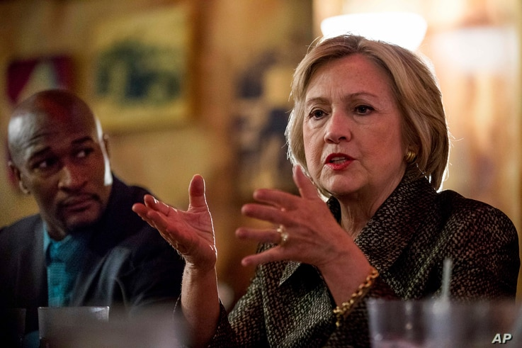 Campaign 2016 Clinton: Democratic presidential candidate Hillary Clinton meets with African American community leaders at Mert's Heart & Soul in Charlotte, N.C., Sunday, Oct. 2, 2016.