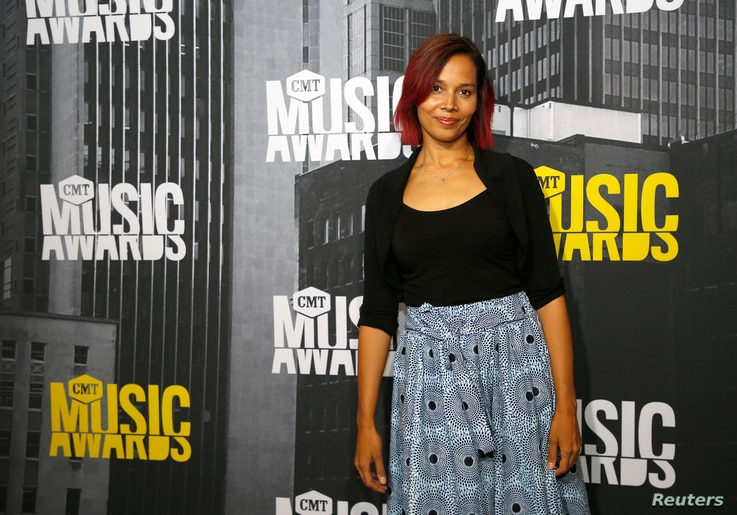 Musician Rhiannon Giddens arrives at the 2017 CMT Music Awards in Nashville, Tennessee, July 6, 2017.