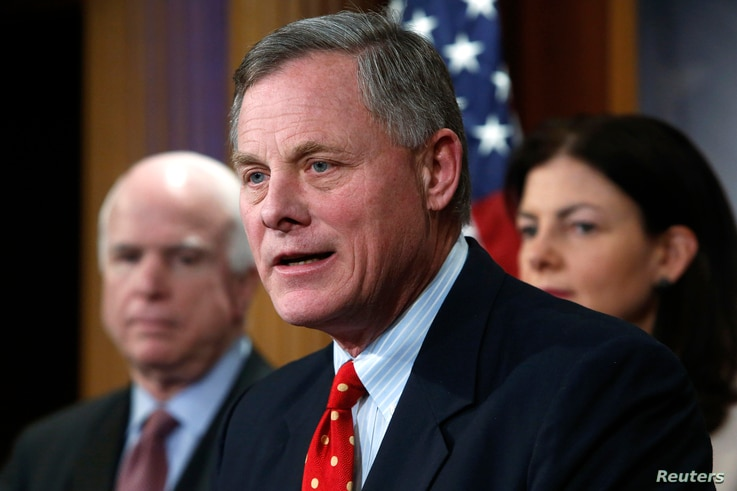 U.S. Senator Richard Burr, R-NC, speaks at a news conference at the U.S. Capitol in Washington, D.C., Jan. 13, 2015.