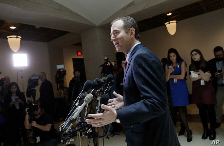 Rep. Adam Schiff, D-Calif., ranking member of the House Intelligence Committee, speaks to reporters about the actions of Committee Chairman Devin Nunes, R-Calif., on Capitol Hill in Washington, March 24, 2017. The panel is investigating Russian inter...