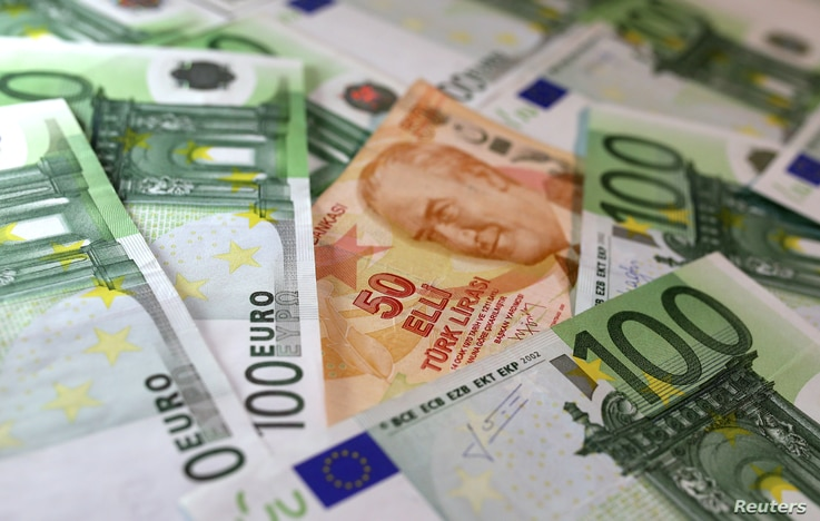 Turkish Lira and Euro banknotes are seen in this picture taken June 25, 2018. Turkey's is borrowing more than $15 billion monthly from global markets to meet its financial obligations.