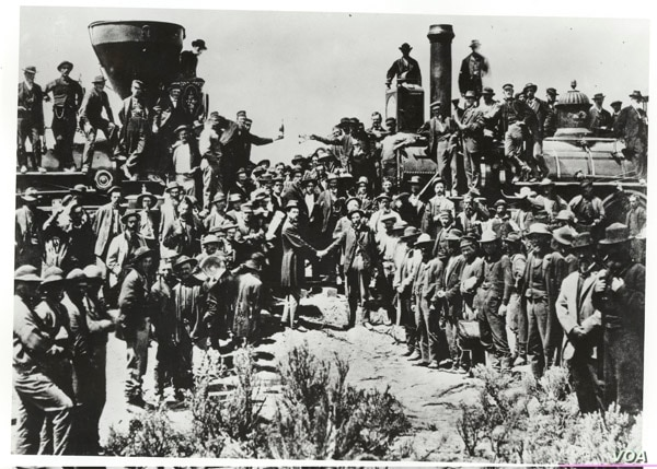 The photo of the celebration of the completion of the Transcontinental Railroad in 1869 that inspired Jean Chen to work toward the creation of a Chinese New Year stamp. (National Archives, Records of Office of Sec of Ag)