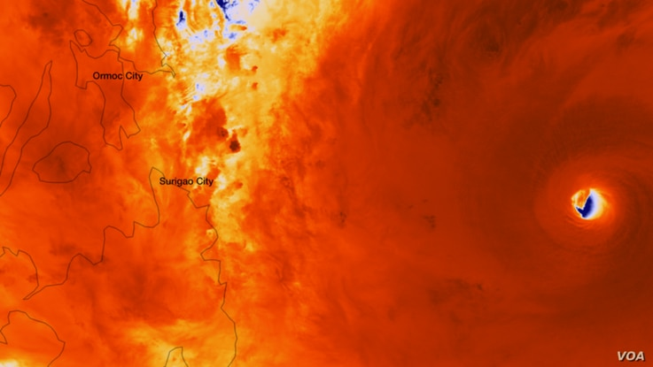 The Suomi NPP satellite captured an incredibly detailed infrared image of Super Typhoon Haiyan's eye as it orbited over the storm at approximately 05:25 UTC on Nov. 7, 2013. (Photo: NASA/NOAA)