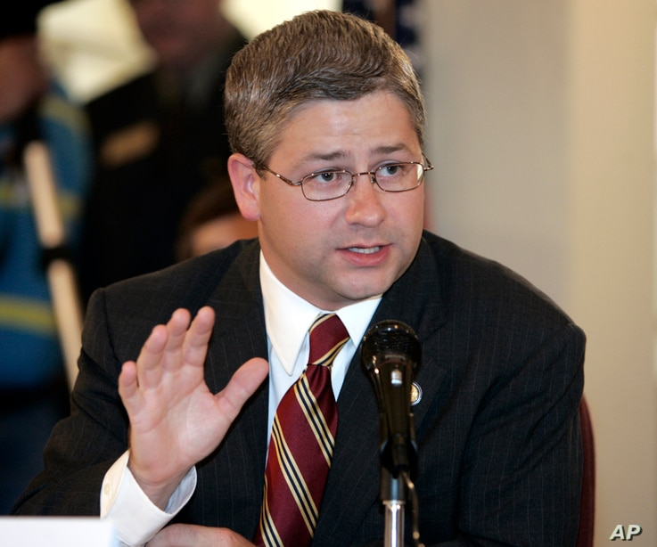 Rep. Patrick McHenry, R-NC, speaks during an immigration hearing in Gastonia, North Carolina, Aug. 25, 2006.