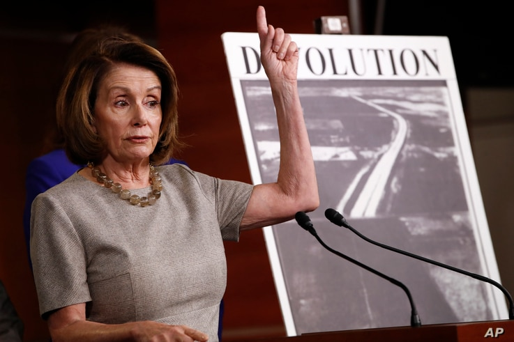 House Minority Leader Nancy Pelosi of Calif., speaks to the media during a news conference about infrastructure, Feb. 8, 2018, on Capitol Hill in Washington.