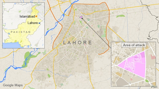 Map of Lahore, Pakistan
