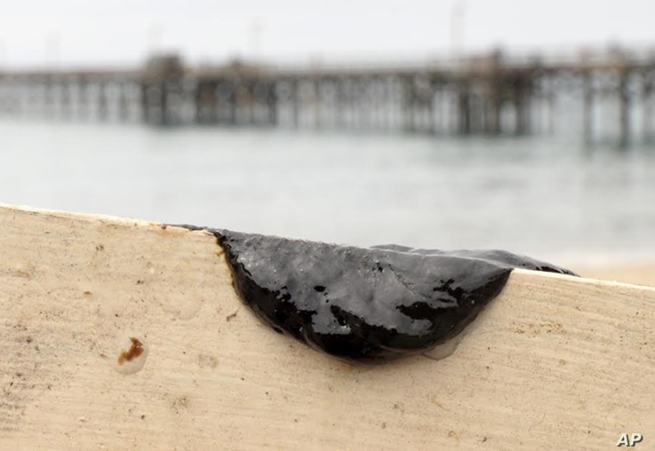 This photo provided by the Santa Barbara County, Calif., Fire Department shows a sample of oil scraped off the side of a kayak after two kayakers encountered a large oil sheen and called the fire department to investigate, seen at the Goleta Beach pa...