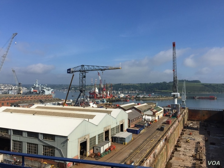 The shipyards at Cornwall, a region where startup businesses with deep ties to the European Union face uncertainty if Britain votes to leave the European Union on June 23. (L. Ramirez/VOA)