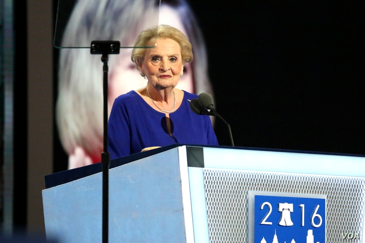 Former U.S. Secretary of State Madeleine Albright addresses the crowd at the Wells Fargo Arena in Philadelphia on day two of the Democratic National Convention, July 26, 2016 (A. Shaker/VOA)