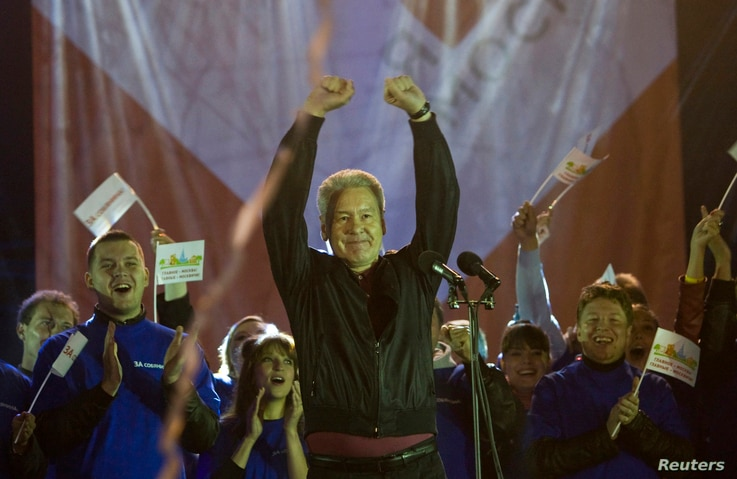 Current Moscow mayor Sergei Sobyanin addresses supporters during a rally after voting in the mayoral election in Moscow, Sept. 9, 2013.
