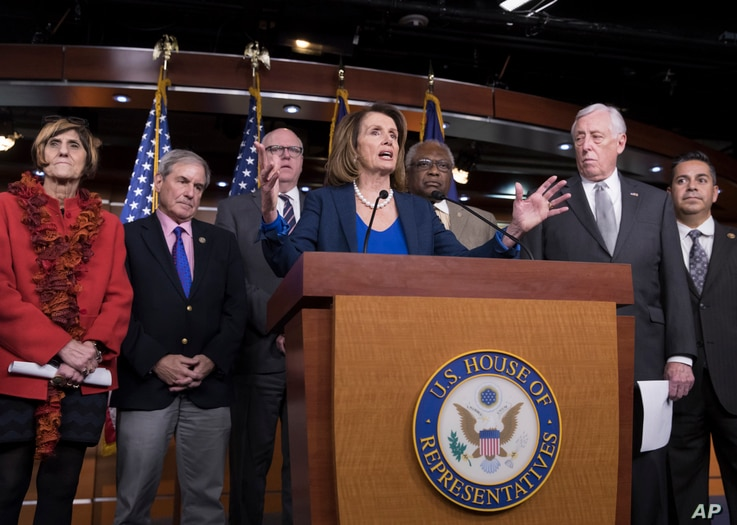 House Minority Leader Nancy Pelosi, D-Calif., is joined by fellow Democrats (L-R), Rep. Rosa DeLauro, D-Conn., Rep. John Yarmuth, D-Ky., Rep. Joe Crowley, D-N.Y., Rep. James E. Clyburn, D-S.C., Minority Whip Steny Hoyer, D-Md., and Rep. Ben Ray Lujan...