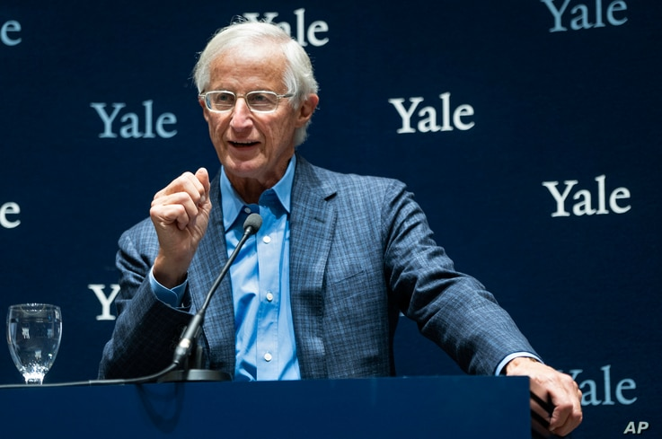 Yale University Professor William Nordhaus, one of the 2018 winners of the Nobel Prize in economics, speaks about the honor Monday, Oct. 8, 2018, in New Haven, Conn.