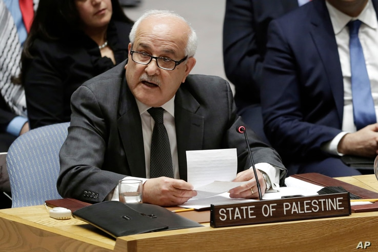 "Palestinian Ambassador to the United Nations Riyad Mansour told the Security Council the U.S. announcement was ""extremely regrettable,"" Dec. 8, 2017."