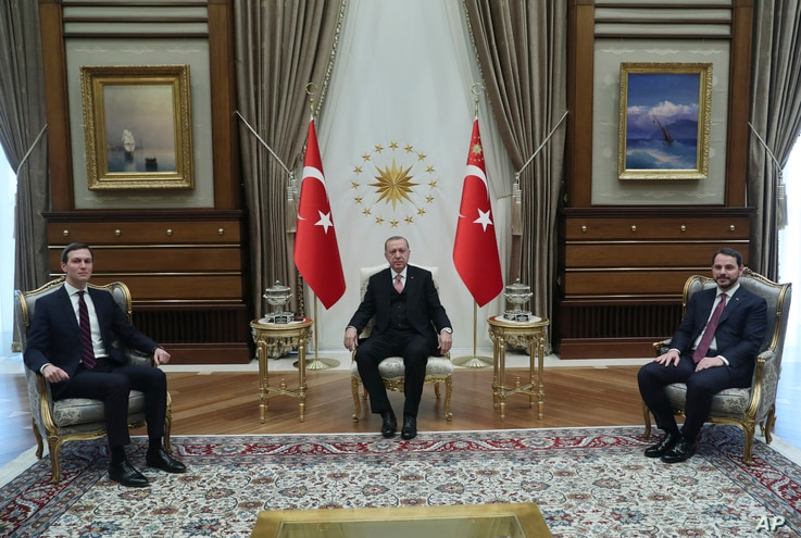 Turkey's President Recep Tayyip Erdogan, center, Turkey's Economy Minister Berat Albayrak, right, who is also his son-in-law, meet with Jared Kushner, left, U.S. President Donald Trump's adviser and son-in-law, at the Presidential Palace in Ankara, T...