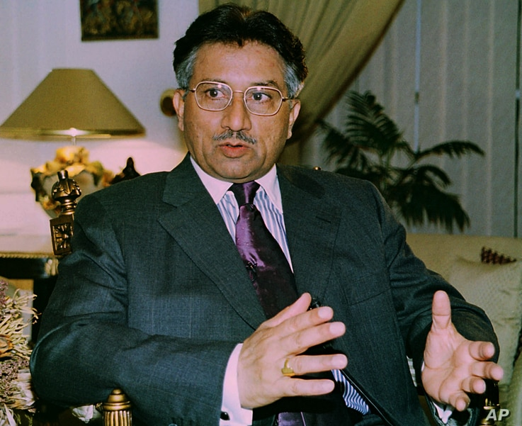 Pakistani President Gen. Pervez Musharraf,  speaks during an exclusive interview with the Associated Press on Wednesday, July 4, 2001 in Rawalpindi, Pakistan. Musharraf said that he would like to meet the main separatist group in disputed Kashmir dur