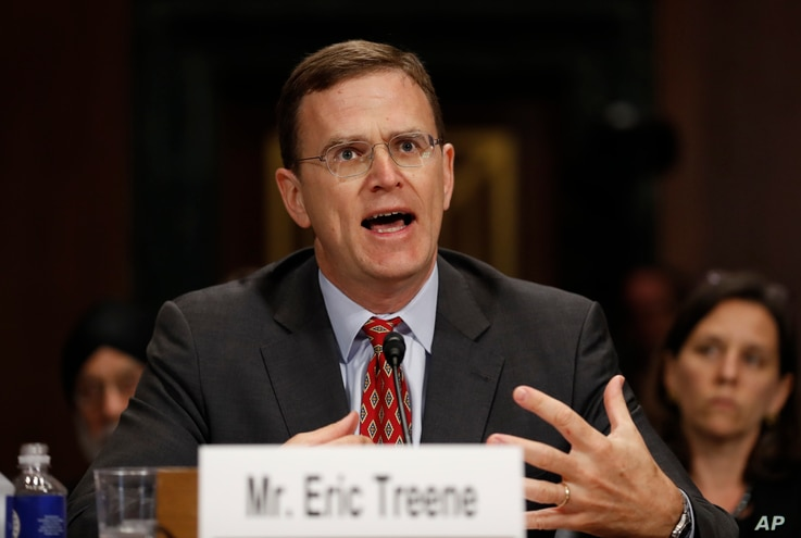 Eric Treene, special counsel for religious discrimination, Civil Rights Division of the Justice Department, testifies before the Senate Judiciary Committee hearing on responses to the increase in religious hate crimes on Capitol Hill, Washington, May...