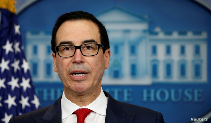 U.S.Treasury Secretary Steve Mnuchin announces measures taken to maximize pressure on North Korea to abandon its weapons programs during a press briefing at the White House in Washington, June 29, 2017.