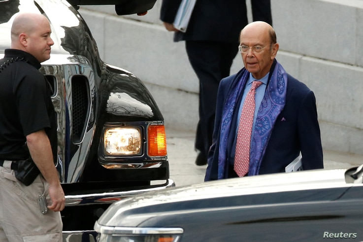 Incoming Trump administration Commerce Secretary nominee Wilbur Ross (R) departs after working a simulated crisis scenario during transition meetings at the Eisenhower Executive Office Building at the White House in Washington, Jan. 13, 2017.