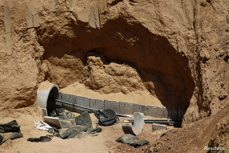 Part of a tunnel exposed by the Israeli military is seen on the Israeli side of the Israel-Gaza border,  Aug. 14, 2014
