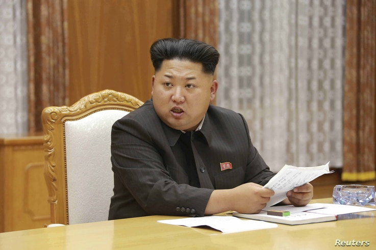 North Korean leader Kim Jong Un speaks at an emergency meeting of the Workers' Party of Korea (WPK) Central Military Commission in Pyongyang, in this undated photo released by North Korea's Korean Central News Agency (KCNA), Aug.  21, 2015.