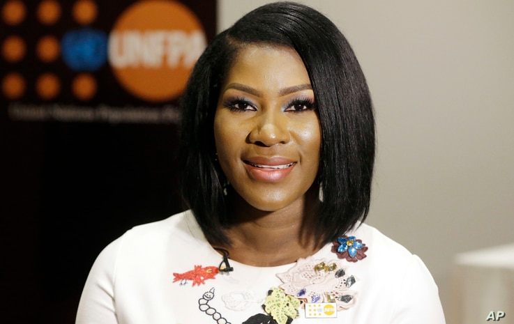 Nigerian actress Stephanie Okereke Linus poses for a photograph during a ceremony to unveil her as the UNFPA Regional Ambassador for Maternal Health in West and Central Africa in Lagos, Nigeria, March 8, 2017.