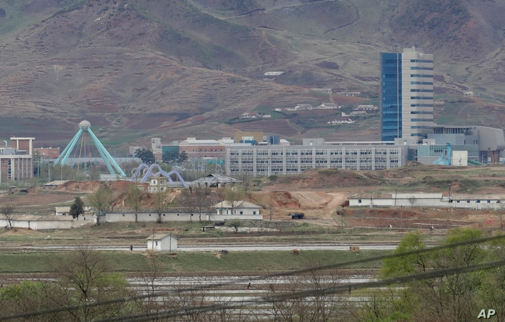 The Kaesong industrial complex in North Korea is seen from the Taesungdong freedom village inside the demilitarized zone in Paju, South Korea, April 24, 2018. South Korean President Moon Jae-in and North Korean leader Kim Jong Un will meet at Panmunj...