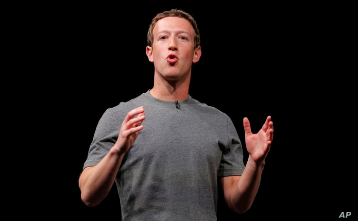 FILE - Facebook CEO Mark Zuckerberg speaks during the Samsung Galaxy Unpacked 2016 event on the eve of the Mobile World Congress wireless show, in Barcelona, Spain, Feb. 21, 2016.