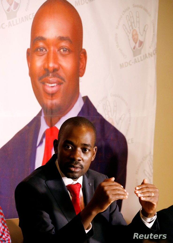 Opposition Movement for Democratic Change (MDC) leader Nelson Chamisa addresses a media conference in Harare, Zimbabwe, Aug. 2, 2018.