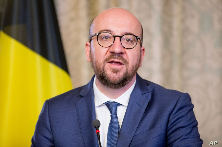 "FILE - Belgian Prime Minister Charles Michel is pictured at his official residence in Brussels, March 25, 2016. Belgian government officials said Wednesday that there were ""absolutely no"" specific indications Michel was under a terrorist threat."