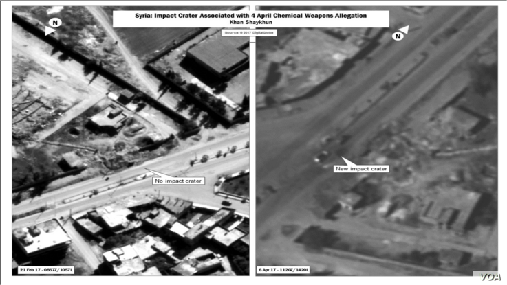 U.S. forces struck a Syrian airfield Thursday in response to the Syrian government's chemical weapons attack April 4, 2017, in Khan Sheikhoun, which killed or injured hundreds of Syrians. These photos, the Department of Defense says, shows no impact ...