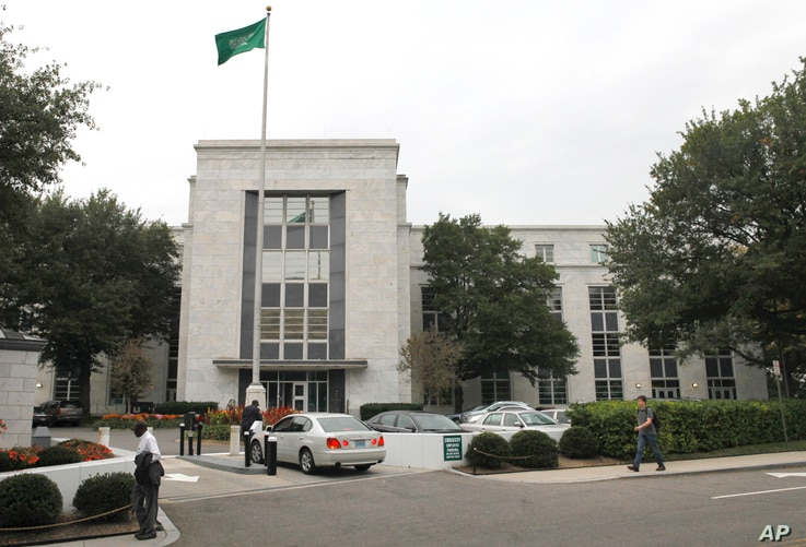 FILE - A car pulls onto the grounds of Saudi Arabia's embassy in Washington, Oct. 11, 2011. The interests of the kingdom are reportedly represented by dozens of lobbying firms in the U.S. capital.