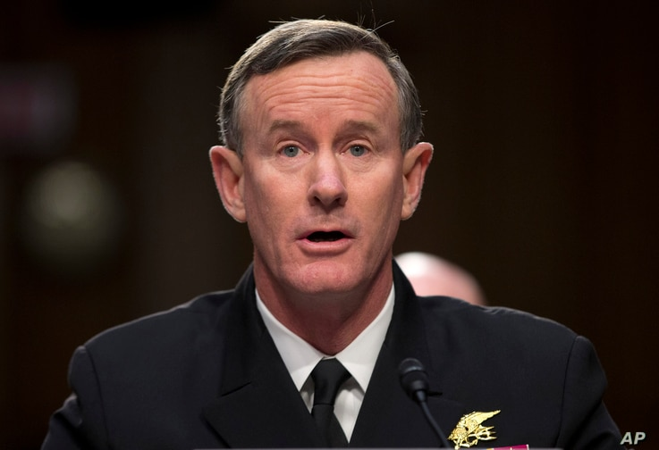 "FILE - Navy Adm. William McRaven, commander, U.S. Special Operations Command, testifies on Capitol Hill in Washington, March 5, 2013. McRaven has written an open letter to President Donald Trump saying revoking his security clearance would be an ""hon"