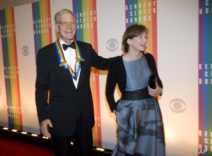 David Letterman, and his wife, Regina, arrive at the Kennedy Center for the Performing Arts for the 2012 Kennedy Center Honors Performance and Gala, December 2, 2012.