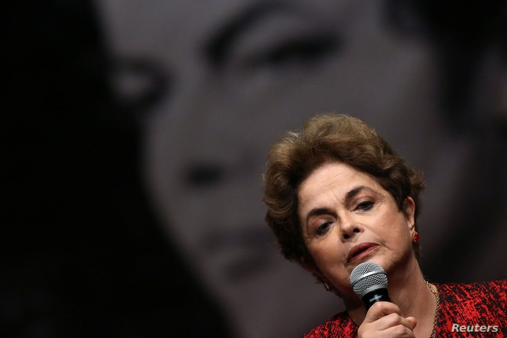 Brazil's suspended President Dilma Rousseff speaks during a meeting with people from pro-democracy movements in Brasilia, Brazil, Aug. 24, 2016.