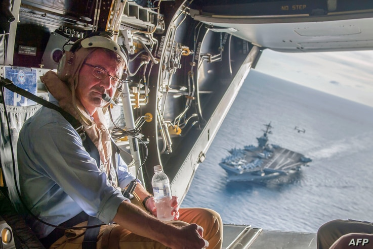 Secretary of Defense Ashton Carter flies in a V-22 Osprey after visiting the aircraft carrier USS Theodore Roosevelt, Nov. 5, 2015. (Dept of Defense Photo)