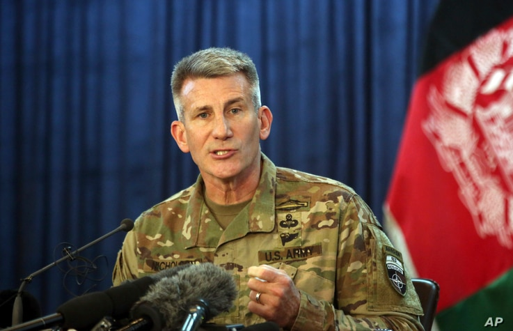 Commander of the Resolute Support mission and U.S. Forces in Afghanistan Army Gen. John W. Nicholson speaks during a press conference, in Kabul, Afghanistan, April 14, 2017.