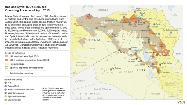 Iraq and Syria: ISIL's Reduced Operating Areas as of April 2015