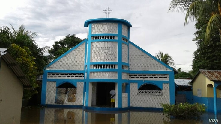 The Romeo Baptist church, in Malfety district, is seen flooded after Hurricane Irma made landfall in Fort-Liberté, northeast Haiti, Sept. 8, 2017. (Photo - Jaudelet Junior Saint Vil, courtesy VOA Creole Service)