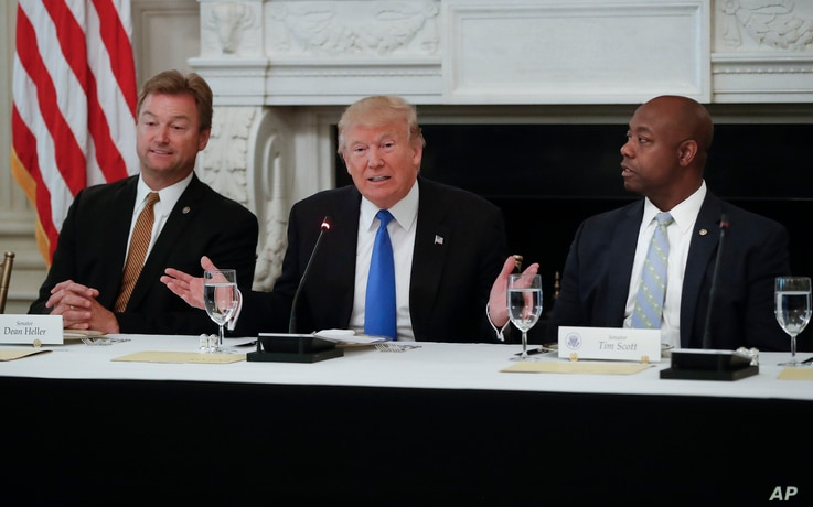 President Donald Trump, flanked by Sen. Dean Heller, R-Nev., left, and Sen. Tim Scott, R-S.C.,speaks at a luncheon with GOP leadership,  July 19, 2017, in the State Dinning Room of the White House in Washington.