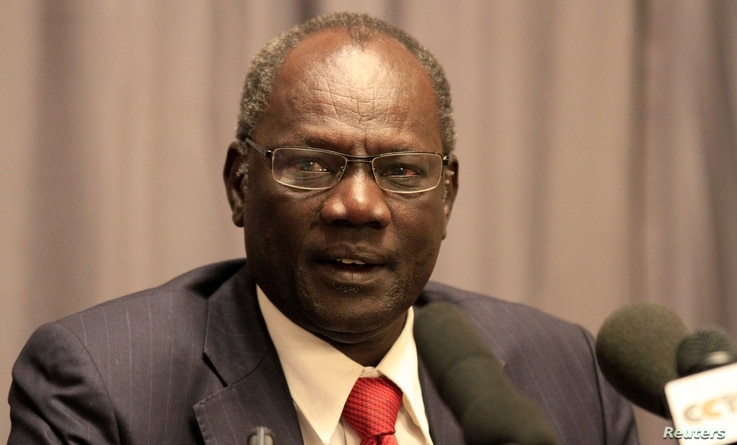 South Sudan's Information Minister Michael Makuei Leuth, spokesperson of the South Sudanese government, addresses a news conference during South Sudan's negotiation talks in Ethiopia's capital Addis Ababa, Jan. 5, 2014.