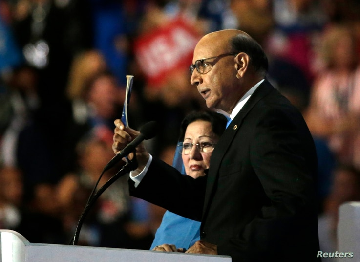 Khizr Khan, who's son Humayun was killed serving in the U.S. Army ten years after September 11, 2001, challenges Republican presidential nominee Donald Trump to read his copy of the U.S. Constitution at the Democratic National Convention in Philadelp...