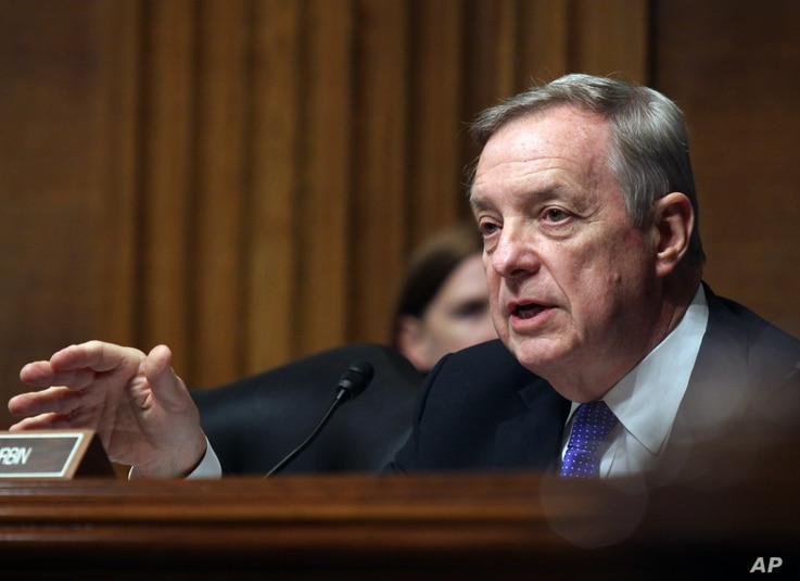 Democratic Senator Dick Durbin (shown) and Republican Senator Rob Portman are co-chairmen of the Senate Ukraine caucus. On Thursday, Dec. 8, the group called on President-elect Donald Trump to take a tough line against Russia.