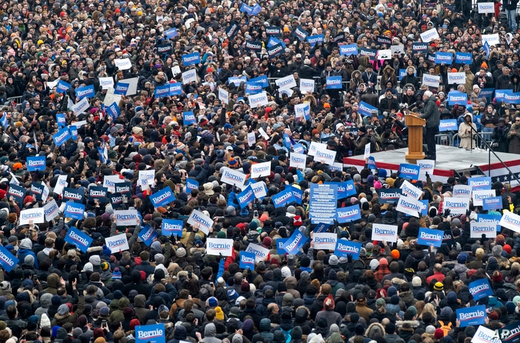 Sen. Bernie Sanders, I-Vt., is surrounded by supporters as he kicks off his second presidential campaign, March 2, 2019, in the Brooklyn borough of New York.