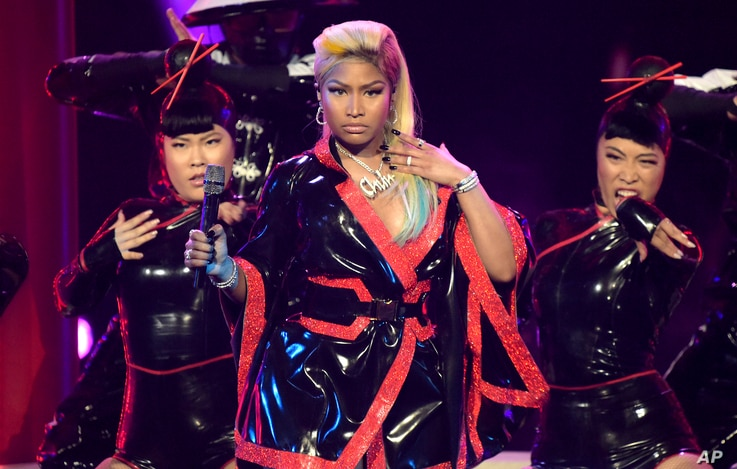 Nicki Minaj performs at the BET Awards at the Microsoft Theater, June 24, 2018, in Los Angeles.