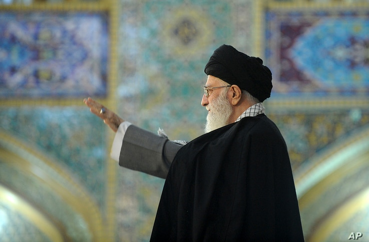 In this picture released by official website of the office of the Iranian supreme leader on March 21, 2017, Supreme Leader Ayatollah Ali Khamenei waves to a crowd in his trip to the northeastern city of Mashhad, Iran.