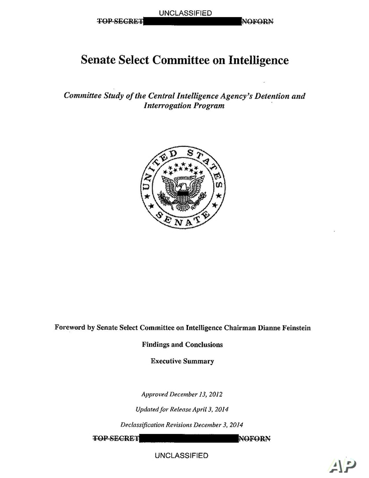 FILE - A copy of the cover of the CIA torture report released by Senate Intelligence Committee Chair Sen. Dianne Feinstein D-Calif., Dec. 9, 2014.